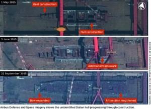 Imágenes satelitales muestran el avance en la construcción del segundo portaviones de la República de China. Fuente: vesselfinder.com