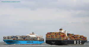 Maersk, MSC, China Shipping, Cosco, Evergreen, CMA CGM, Hapag Lloyd. SeaIntel, competencia, top 6, Noticias marítimas Colombia