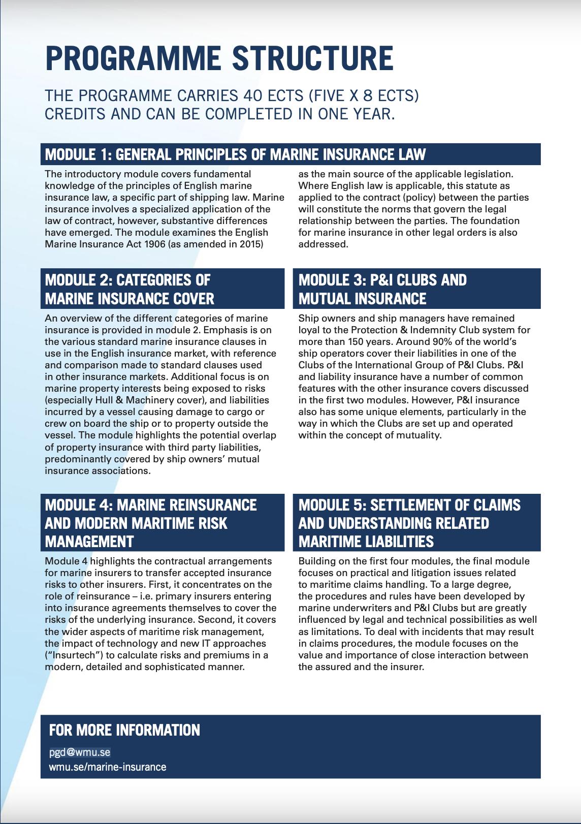 Marine Insurance Post Graduate Diploma - WMU